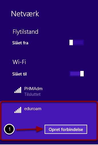 """Vælg """"Eduroam"""" i listen over åbne netværk"""