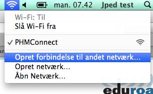 """Vælg nu """"Opret forbindelse til et andet netværk"""" under Wi-Fi"""