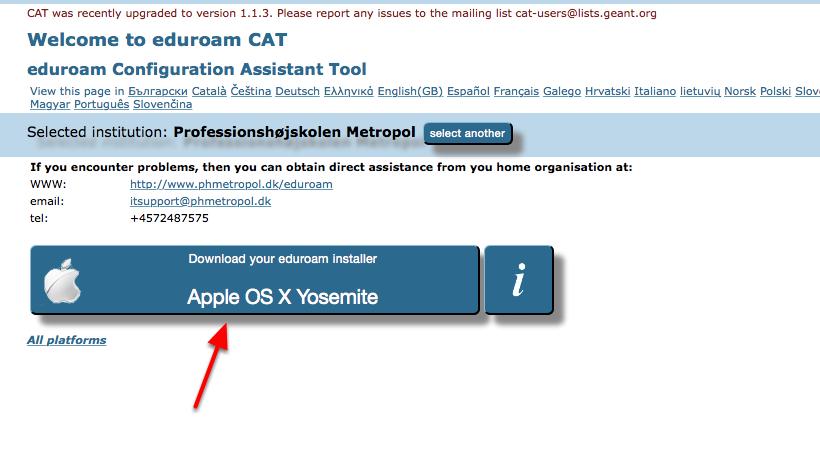 """Vælg """"Download your eduroam installer"""""""
