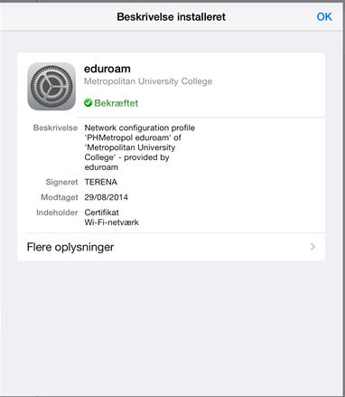 Når dit skærmbillede ser således ud, har du installeret eduroam-certifikatet korrekt