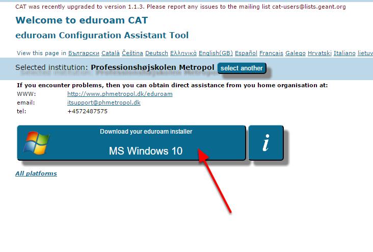 """Tryk på """"Download your eduroam installer"""""""