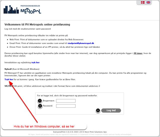 Start med at gå ind på studprint.phmetropol.dk