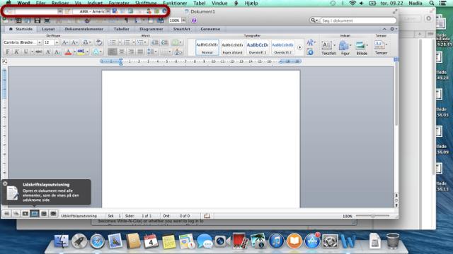 Du kan nu se at værktøjslinien fra Write-N-Cite er aktiv i Word