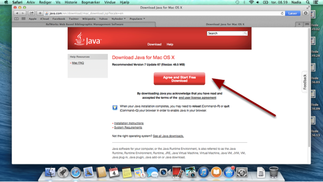 "Tryk på ""Agree and Start Free Download"""