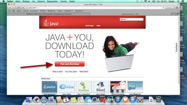 Start en browser og gå til Java.com