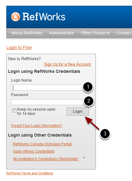 Log ind på RefWorks