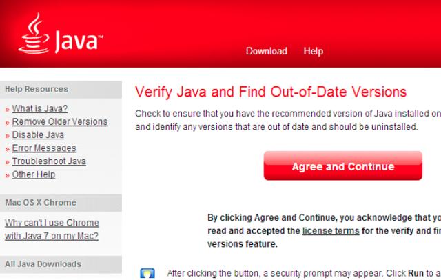 Når en browser med dette billede åbner, er Java installeret færdig