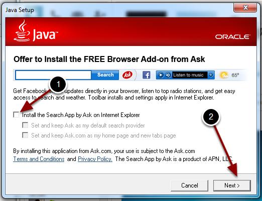 Sig nej tak til Ask Toolbar
