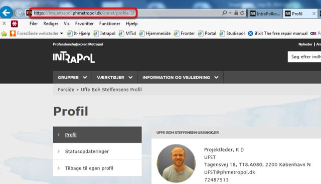 Søg, find og klik ind på forfatterens profil i IntraPol