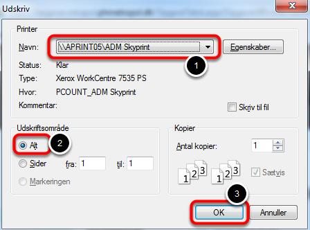 Vælg at printe alt:brug genvejstasterne på tastaturet: Ctrl. + P