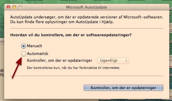 """Hak af i """"Automatisk"""", så Word fremover selv kontrollerer om der er opdateringer"""