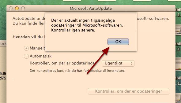 """Når der ikke længere er opdateringer tilgængelige, får du denne boks frem, tryk på """"OK"""""""