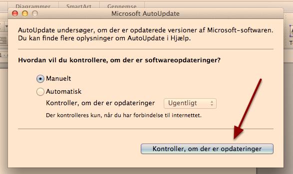"""Vælg """"Kontroller, om der er opdateringer"""""""