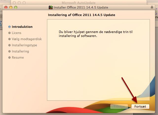 """Nu skal du installere opdateringerne. Tryk på """"Fortsæt"""""""