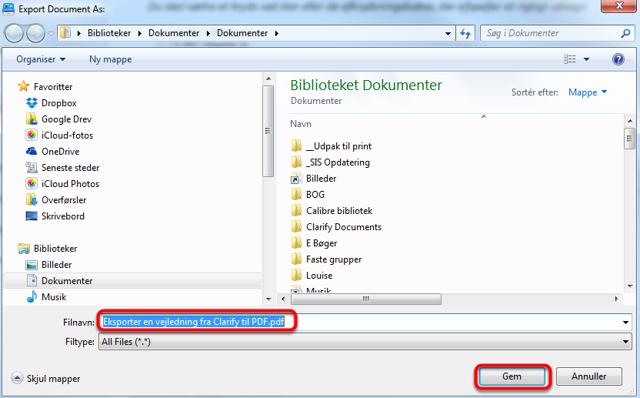 Vælg hvor du vil gemme PDF filen