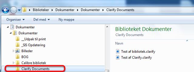 Gå til den mappe mappe du har gemt dine Clarify filer
