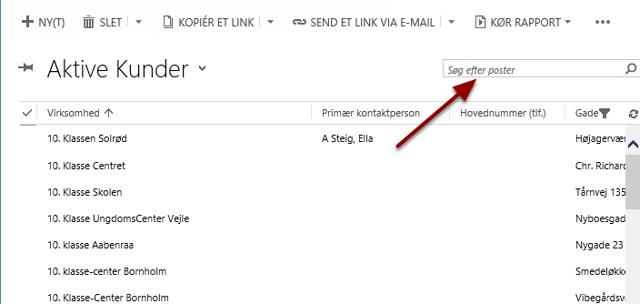 Søg din kunde ved at taste navnet i søgefeltet og trykke på luppen eller enter