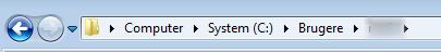 """Følg stien: """"Computer/System (C:)/Brugere/xxxx"""" (hvor xxxx er dit brugernavn på computeren)"""