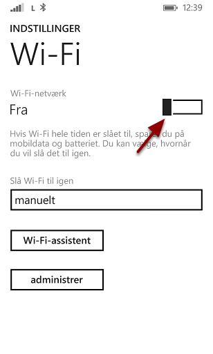 Slå Wi-Fi til ved at køre denne knap til højre