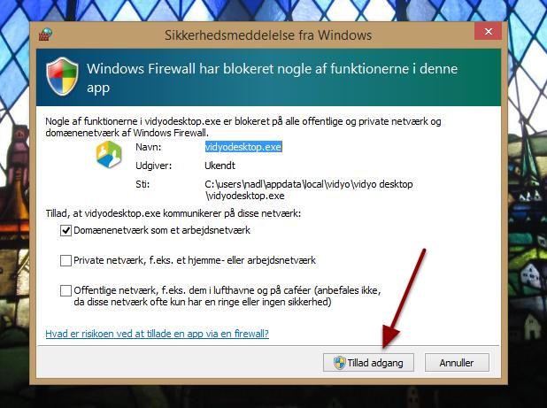 """Du kan risikere at du får denne sikkerhedsmeddelelse fra Windows - i så fald tryk på """"Tillad adgang"""""""
