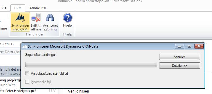 Outlook og CRM synkroniseres