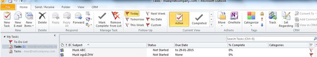 Efter synkronisering vises opgaven i Outlook på linje med alle andre opgaver