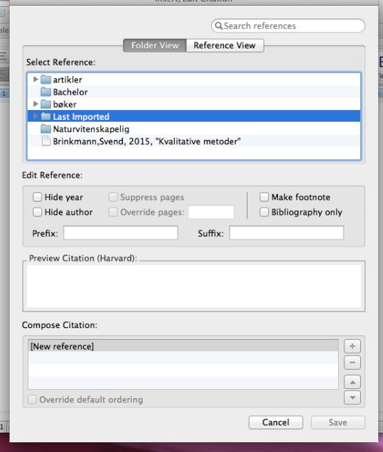 """I """"Folder View"""" kan du ikke se dine referencer ved at klikke på direkte på mappen"""