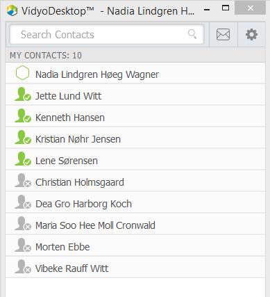 I din Vidyo startskærm kan du se alle dine kontakter