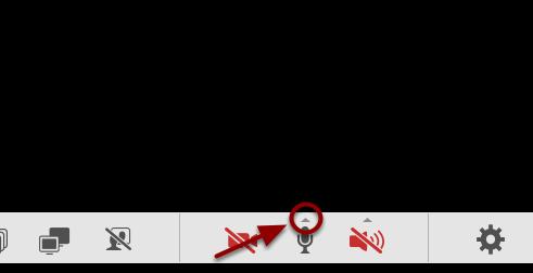 Nu er mikrofonen tændt - for at justere lydstyrken, tryk på den lille trekant over ikonet