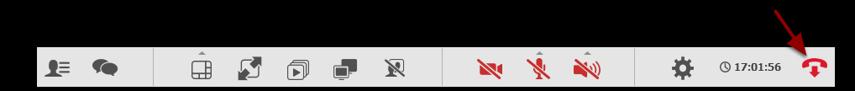 For at afslutte mødet, klikker du på det røde telefonrør på funktionsmenuen