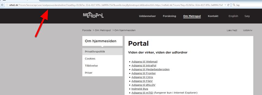 """Sæt linket ind i din browser linie (Firefox eller Safari) og tryk """"Enter""""."""