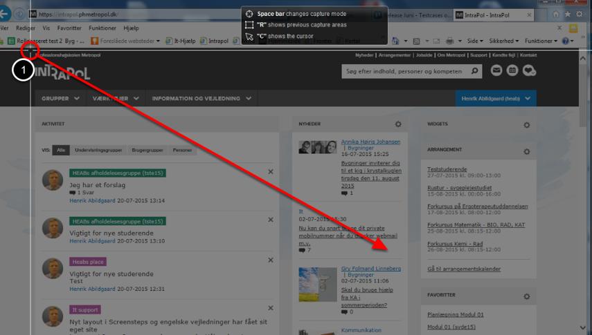 Clarify programmet minimeres og du kan nu tage et skærmdump af det du ønsker