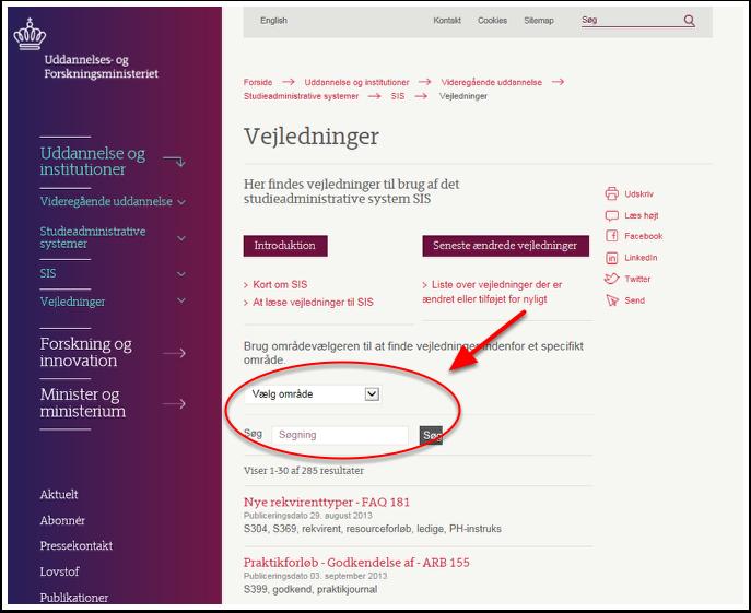 1. Uddannelses- og Forskningsministeriets hjemmeside (www.ufm.dk)