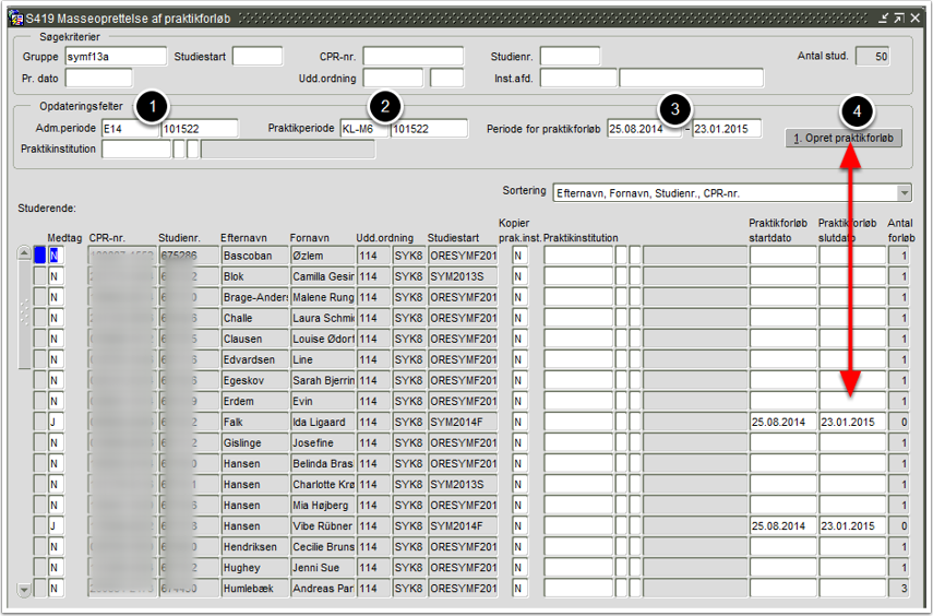 S419 Masseoprettelse af praktikforløb - Opdateringsfelter