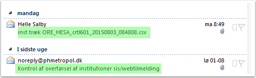 De to udtræk (SQL og crtl601)