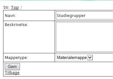 """Klik nu på pilen ud for: """"Mappetype"""":"""
