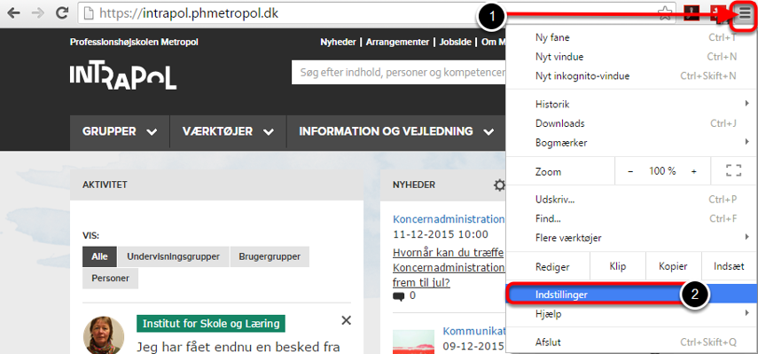 Åbn Internet Google Chrome