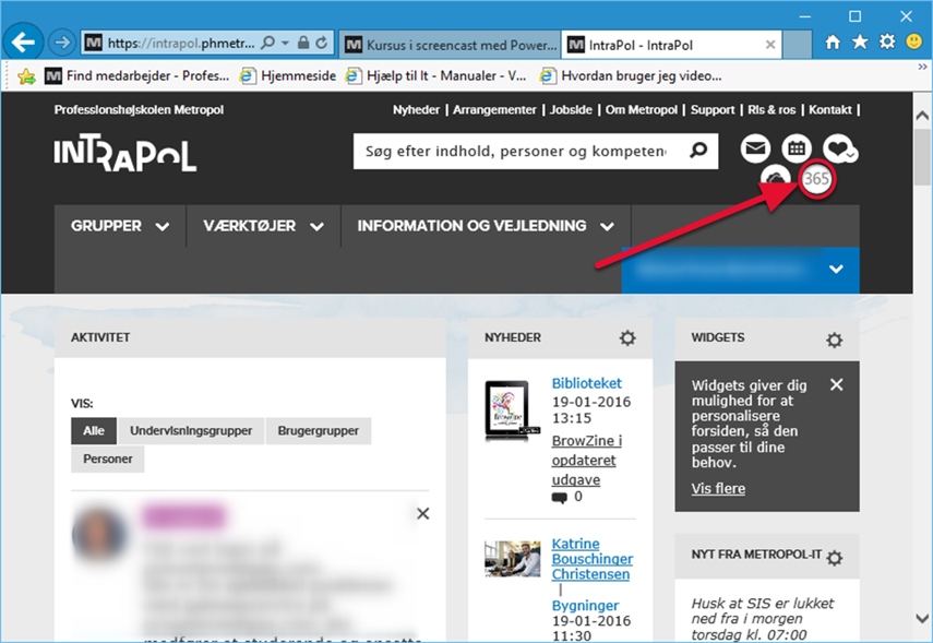 Tryk på Office365 symbolet på Intrapol.