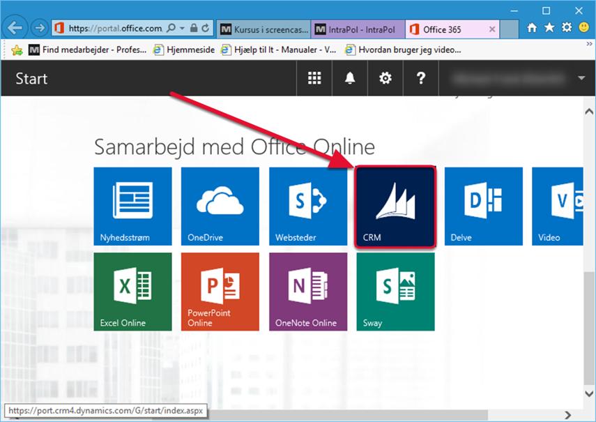"""I menuen """"Samarbejd med Office Online"""" skal du trykke på """"CRM"""". Du vil herefter blive sendt til Metropol's CRM Online side."""
