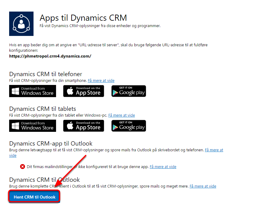 """Vælg """"Hent CRM til Outlook"""""""