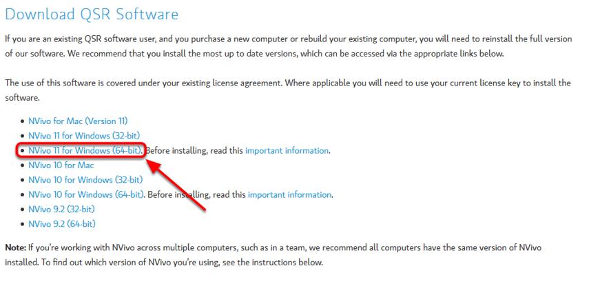 "Tryk på ""Nvivo 11 for Windows (64-bit)"
