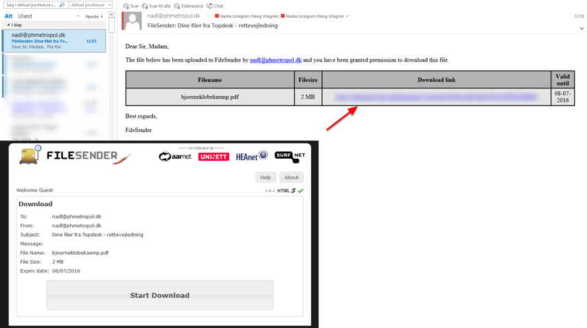 Modtageren får nu en mail med info om og et link til filen