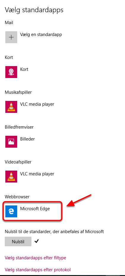 Du kan nu rette på den browser du vil benytte som standard