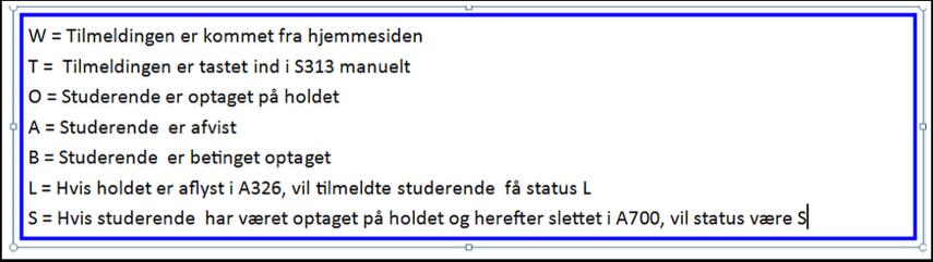 Status oversigt