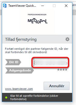 Nu er Teamviewer klar: oplys det 9-cifrede ID til supporteren