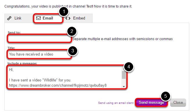 Del din video via email