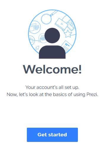 Du er har nu oprettet en prezi-konto og er klar til at gå i gang