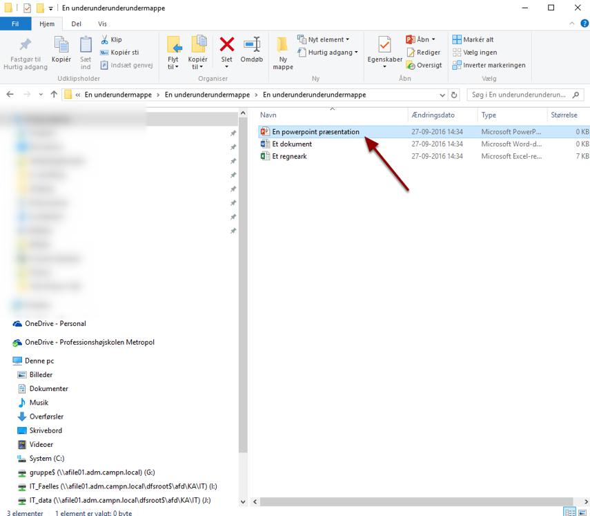 Gå ind i den mappe, der indeholder filen, du vil omdøbe