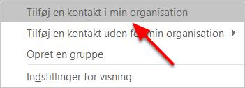"""Vælg """"Tilføj en kontakt i min organisation"""""""