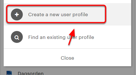 """Tryk på """"Create a new user profile"""""""